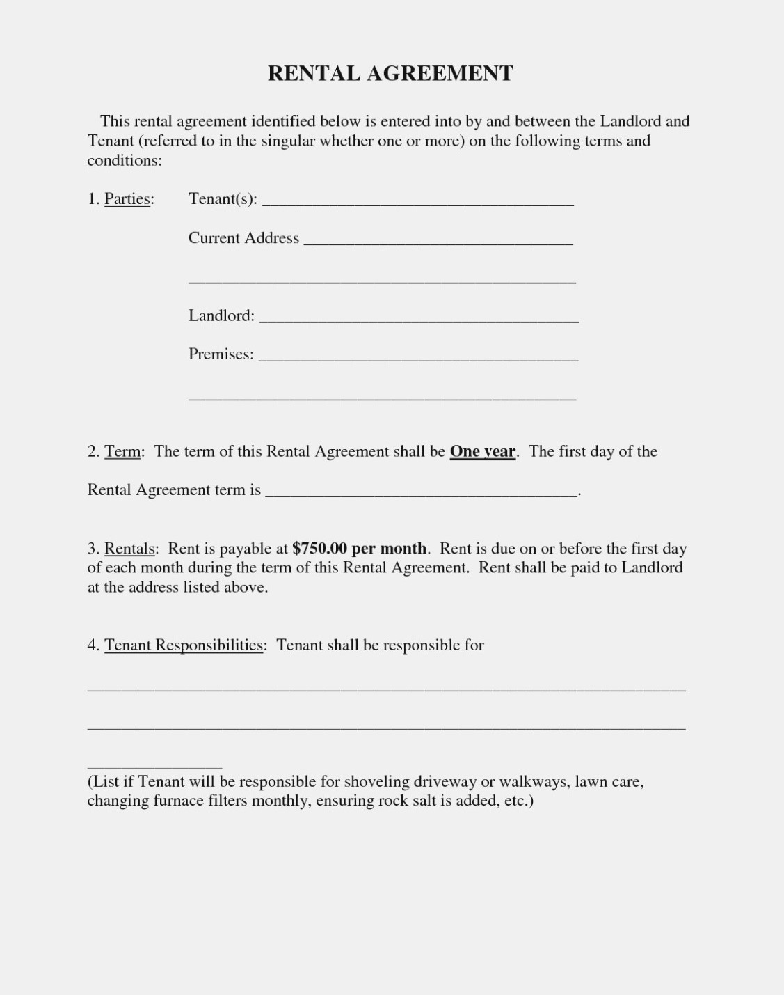 Free Printable Basic Rental Agreement