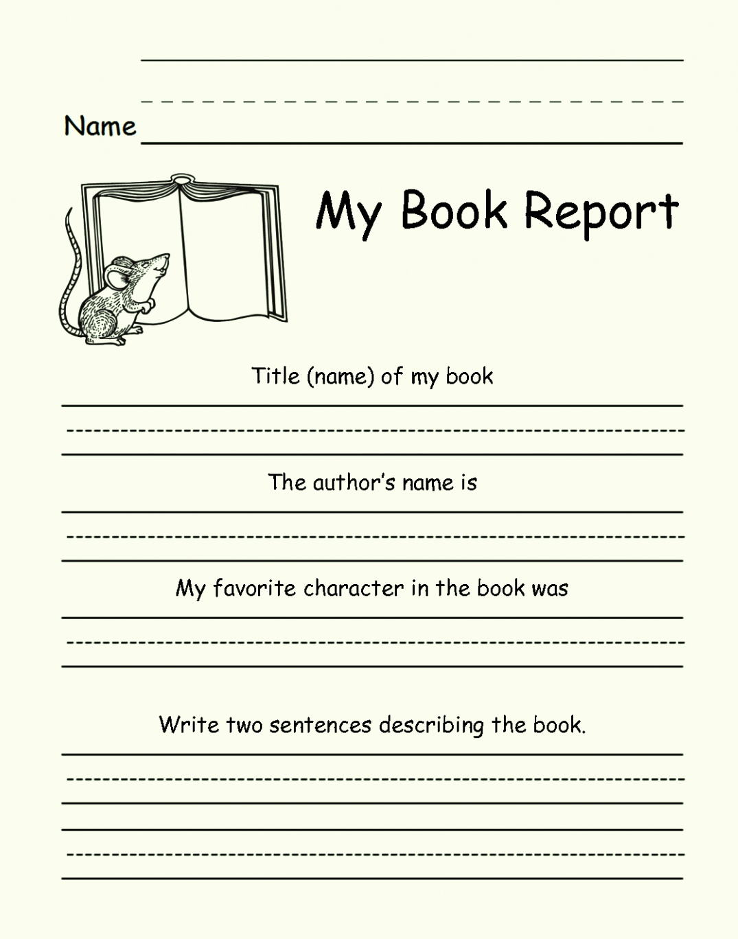 1st to 5th Grade Book Report Template