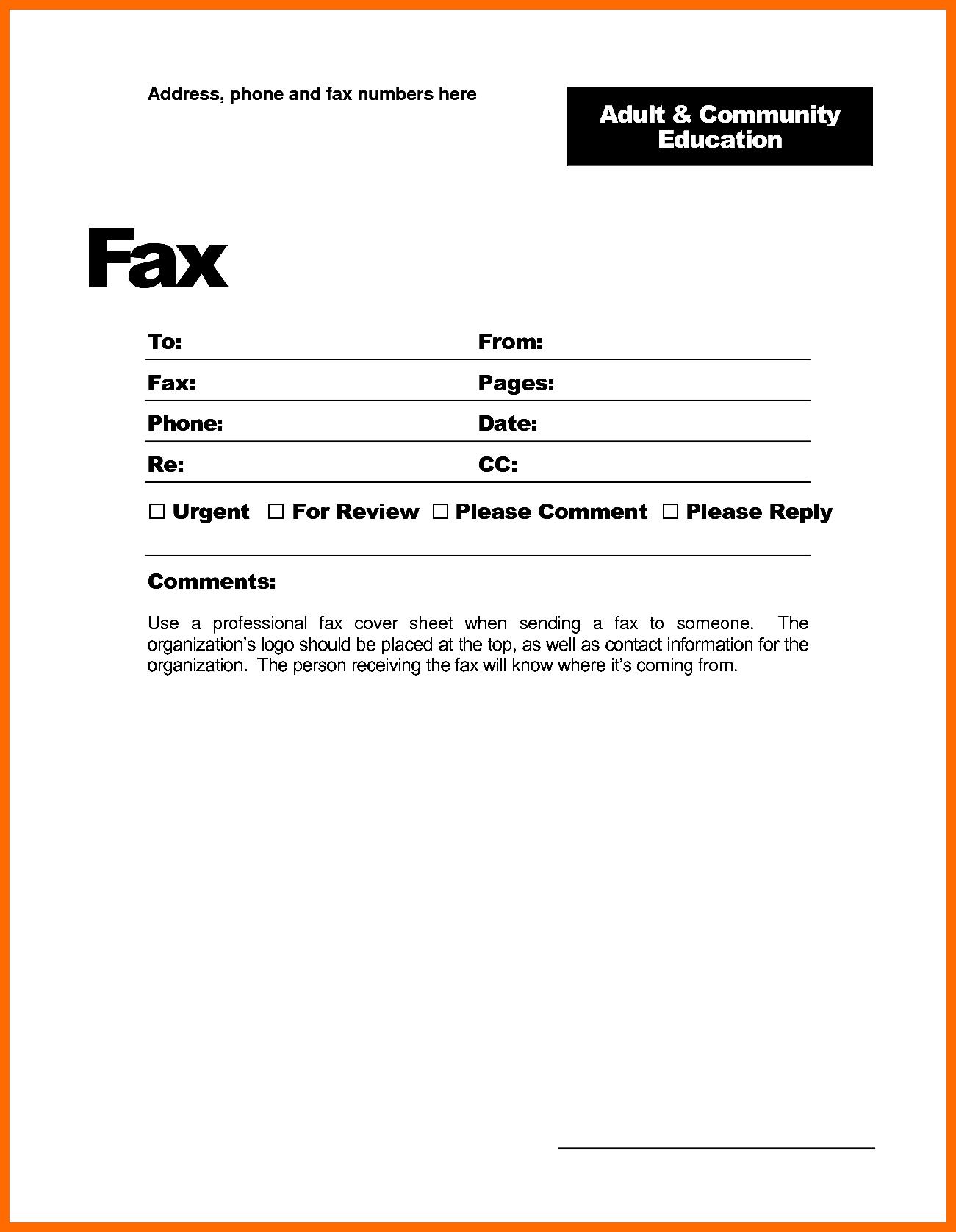 Printable Fax Cover Sheet