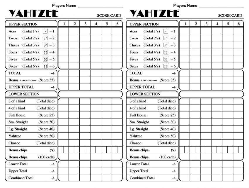 Printable Yahtzee Score Sheets Card Hd