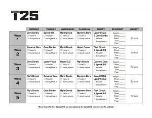 Focus T25 Calendar