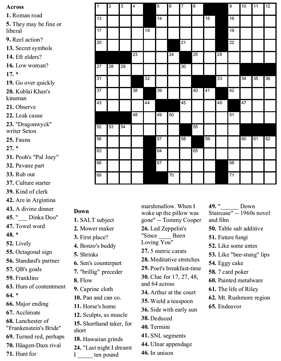 It is an image of Printable Sunday Crossword Puzzles with answer key