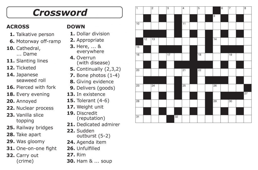 image relating to Easy Crossword Puzzles Printable identify Straightforward Crossword Puzzles Printable Everyday Template