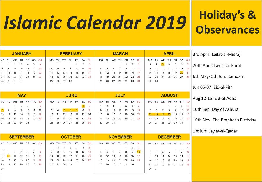 Islamic Calendar 1440