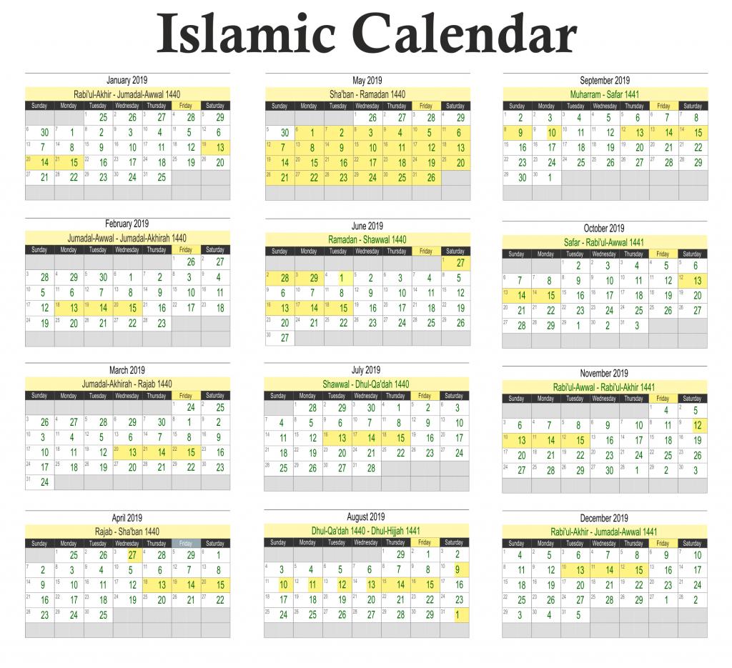Muslim Islamic Calendar 2019