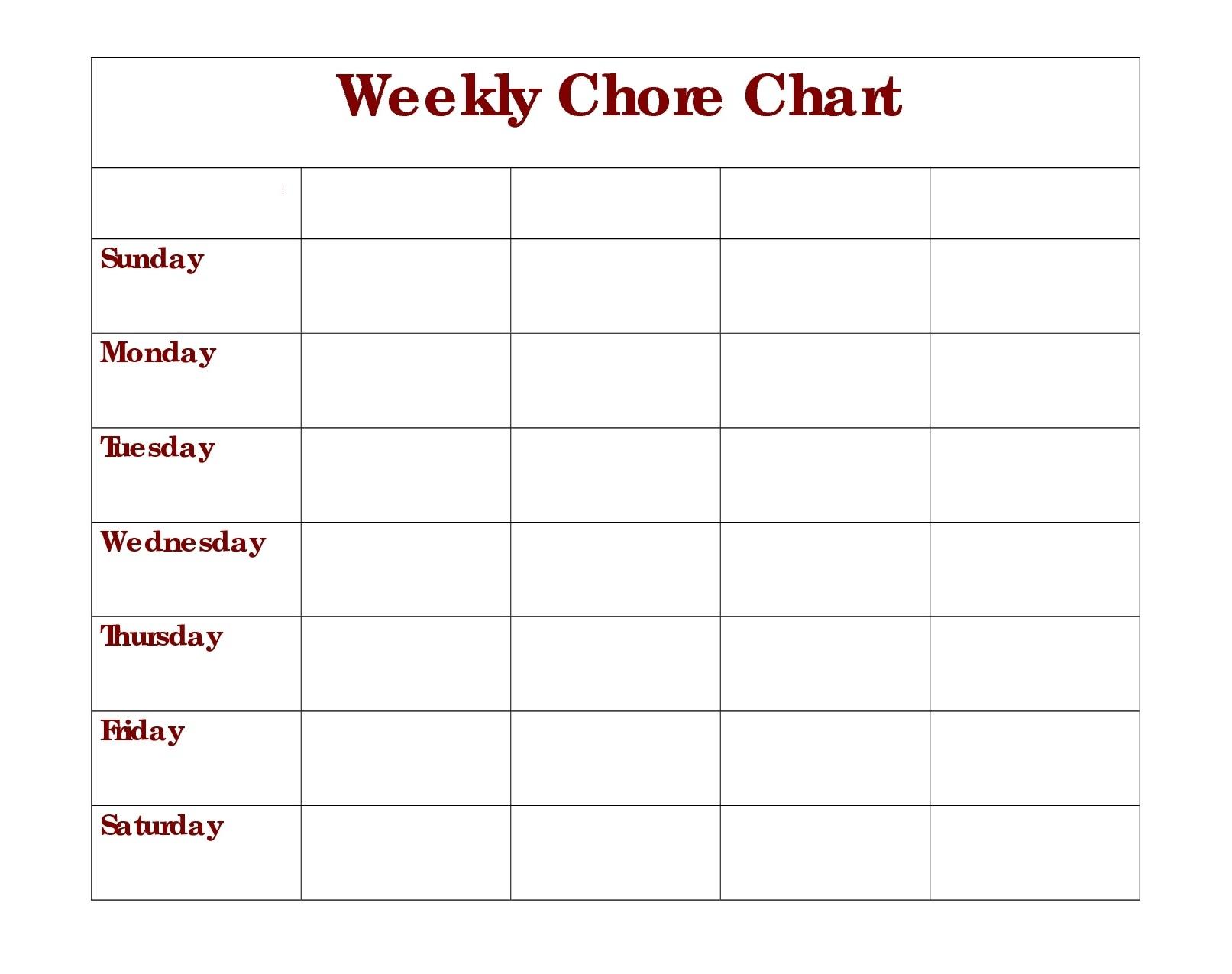 blank chore charts printable