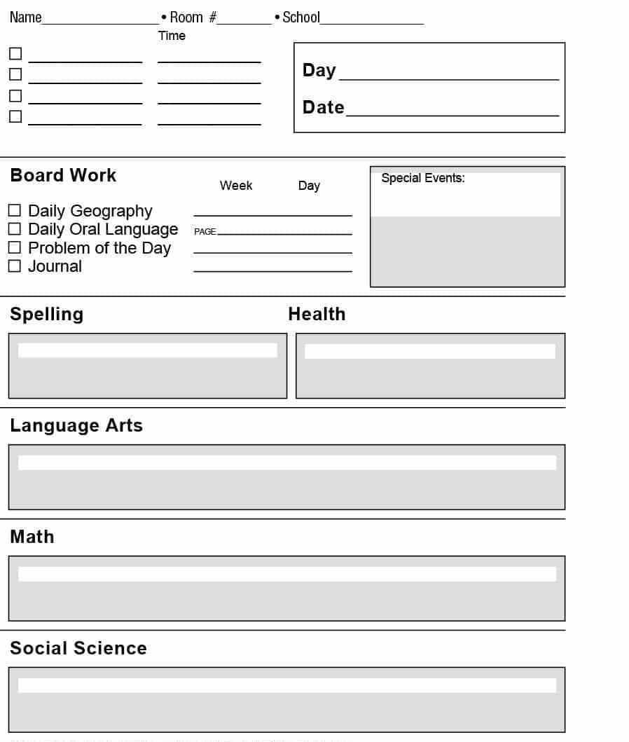Printable lesson plan template