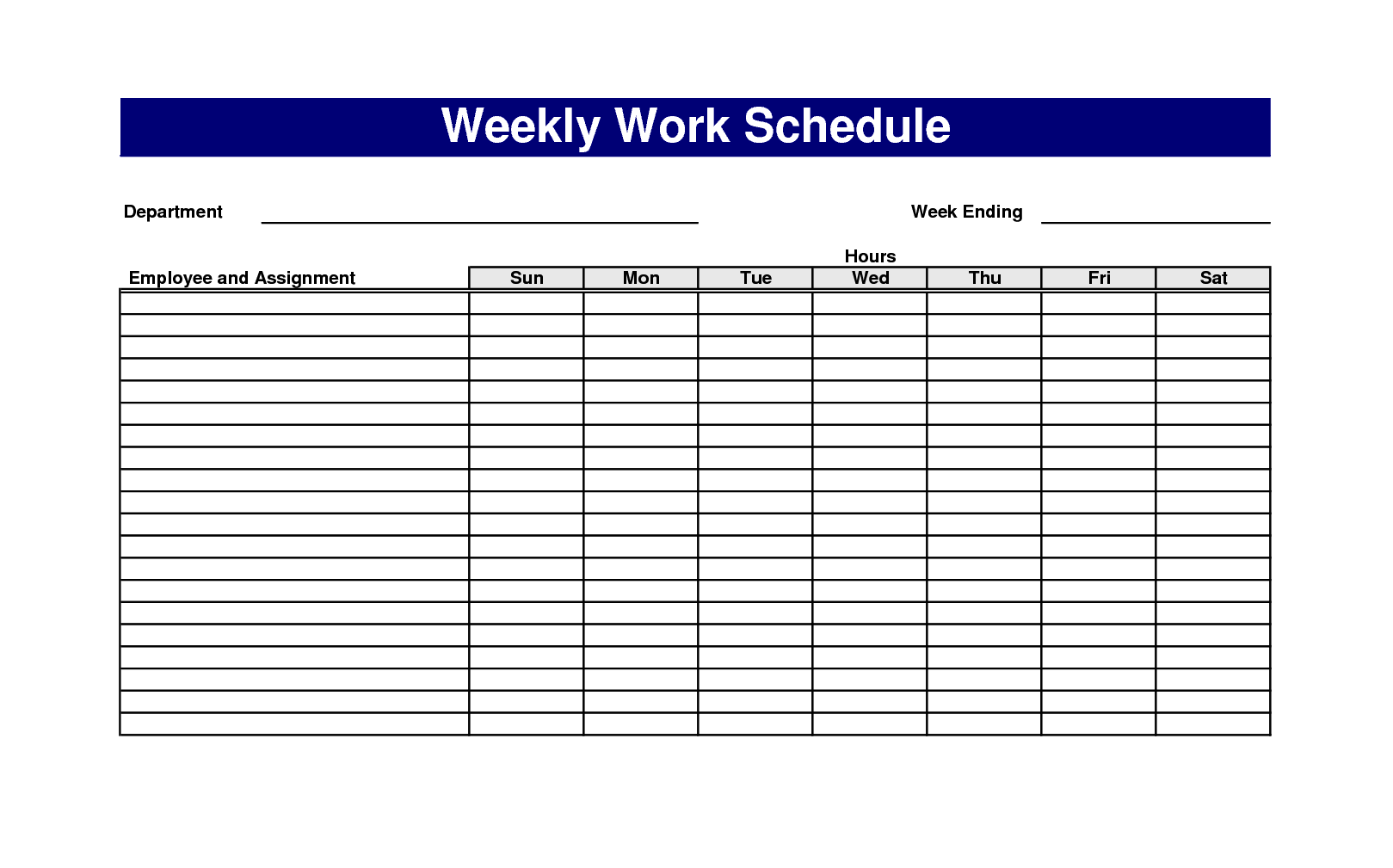 Printable weekly schedule template
