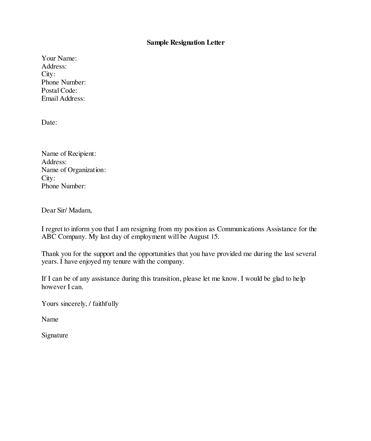 Template of resignation letter