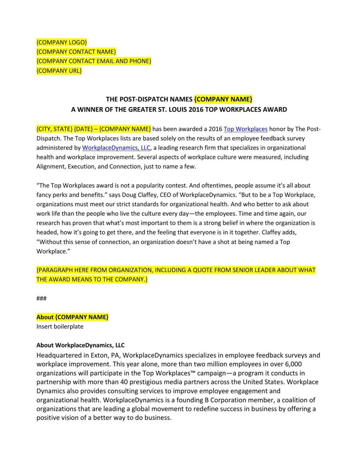 Press Release Template Free