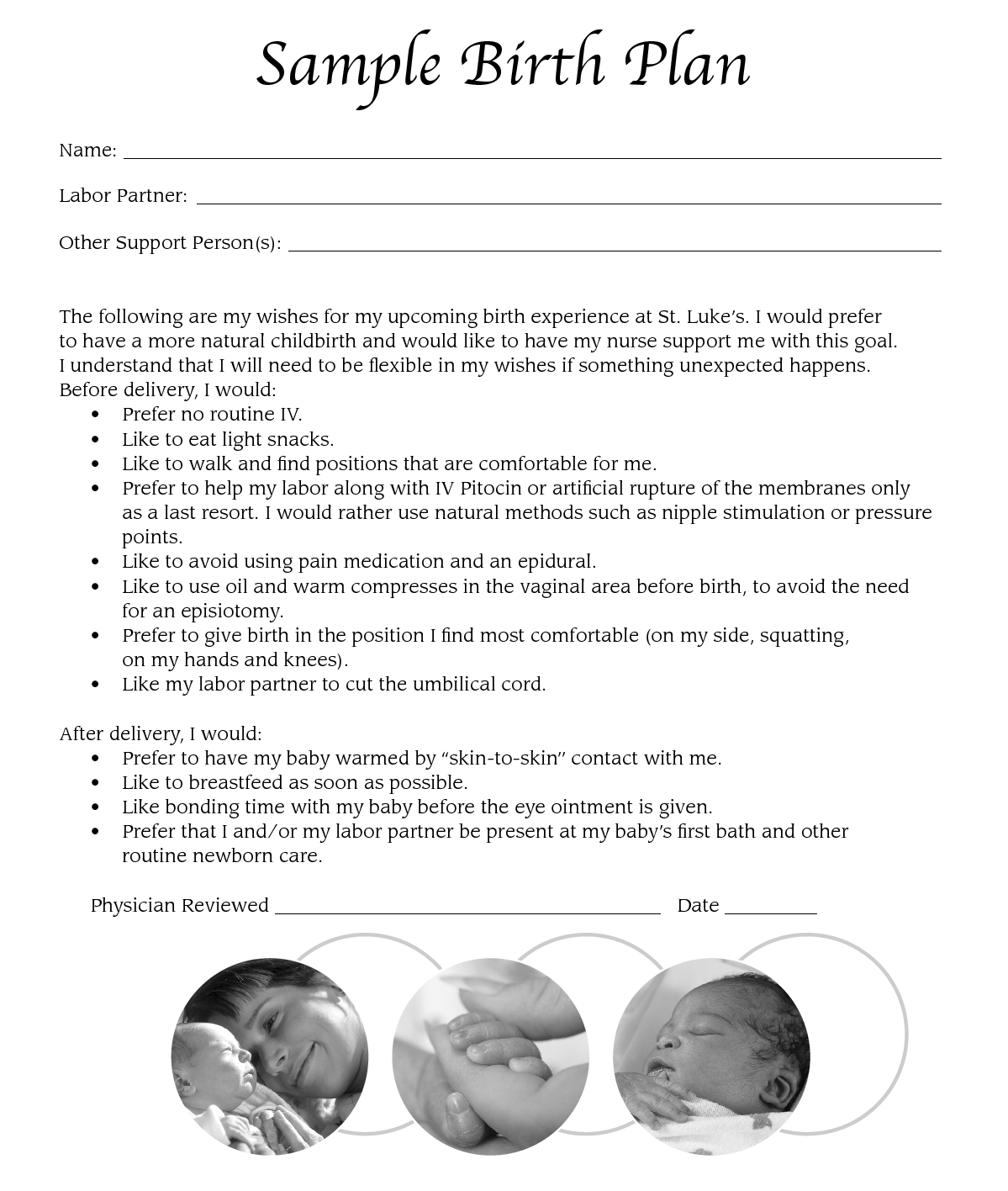 Sample Birth Plan