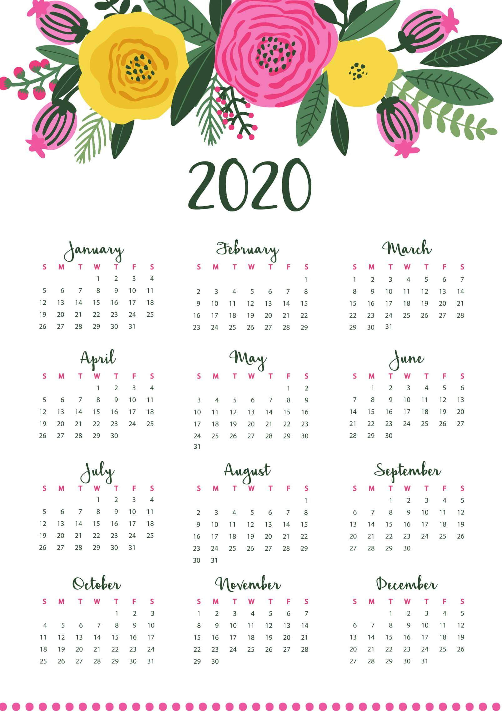 1 Year Calendar 2020 Template
