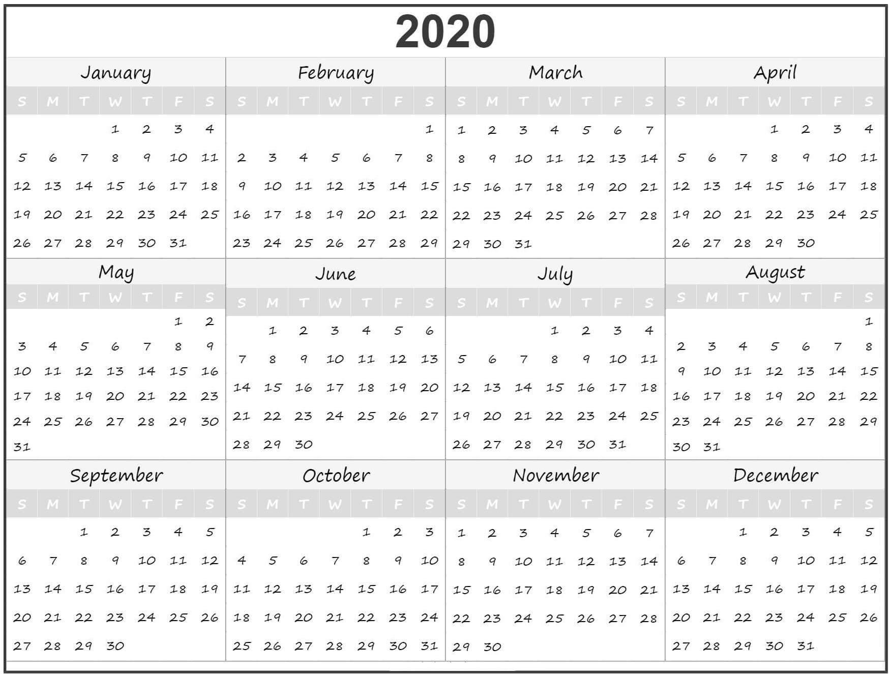 12 Month Calendar 2020