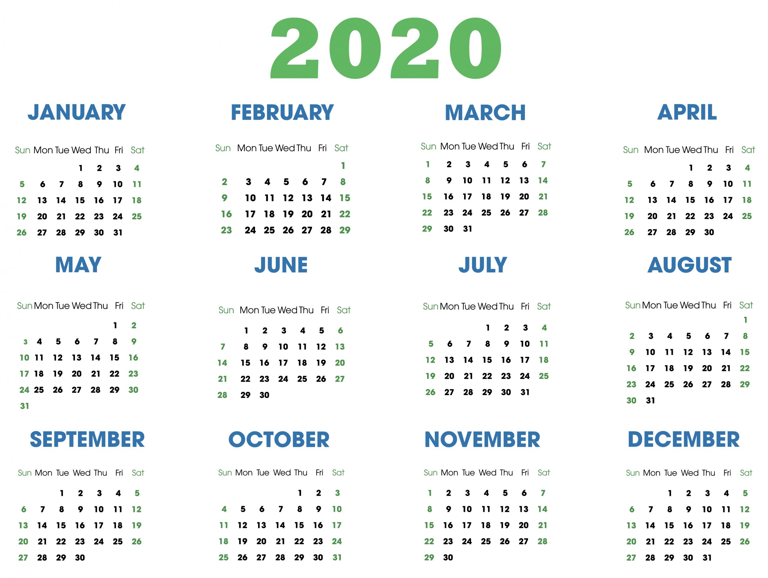 2020 Calendar Canada