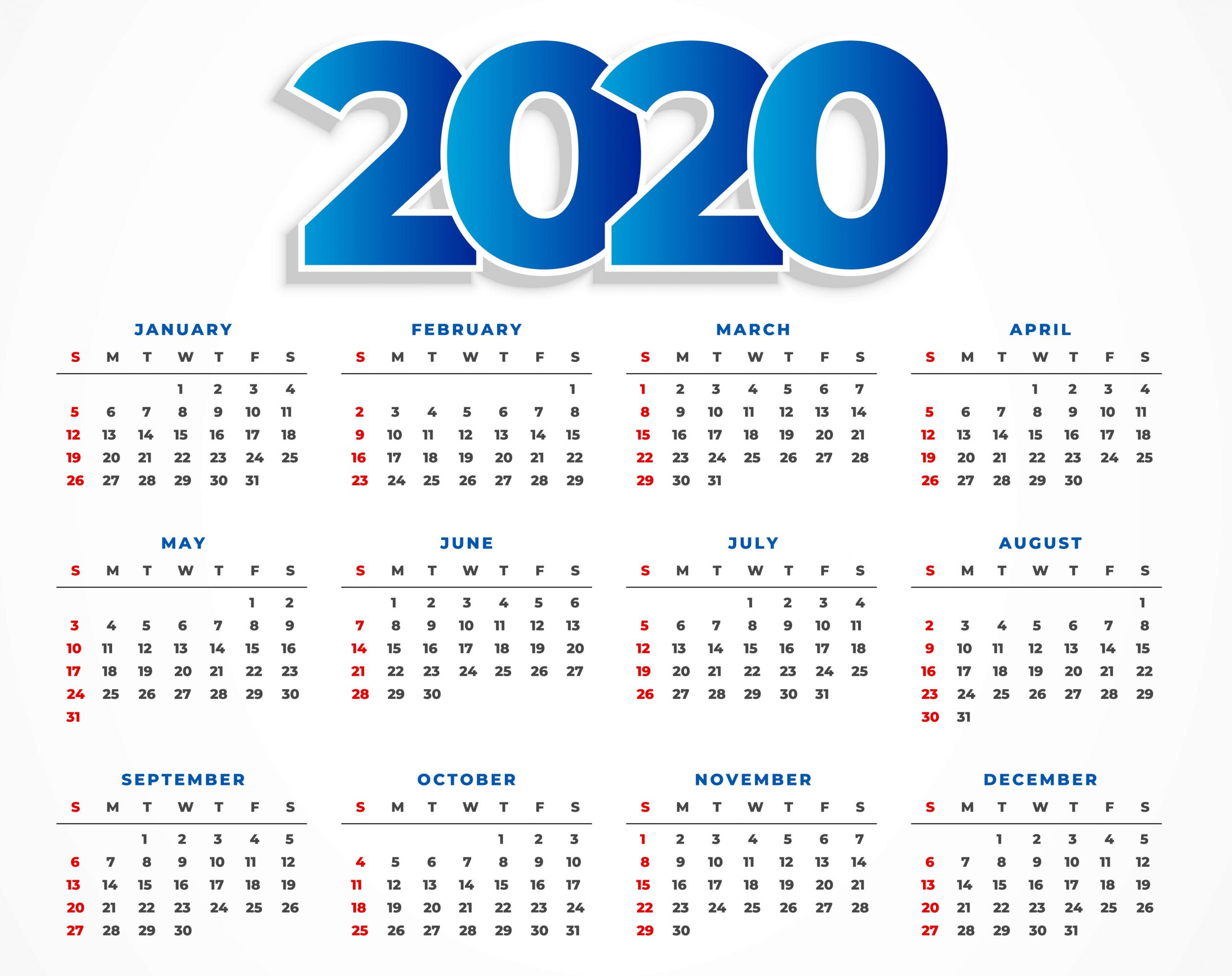 printable yearly calendar 2020 with holidays template