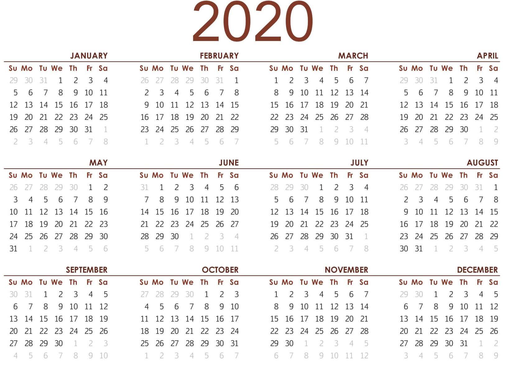 2020 Yearly Calendar Printable PDF