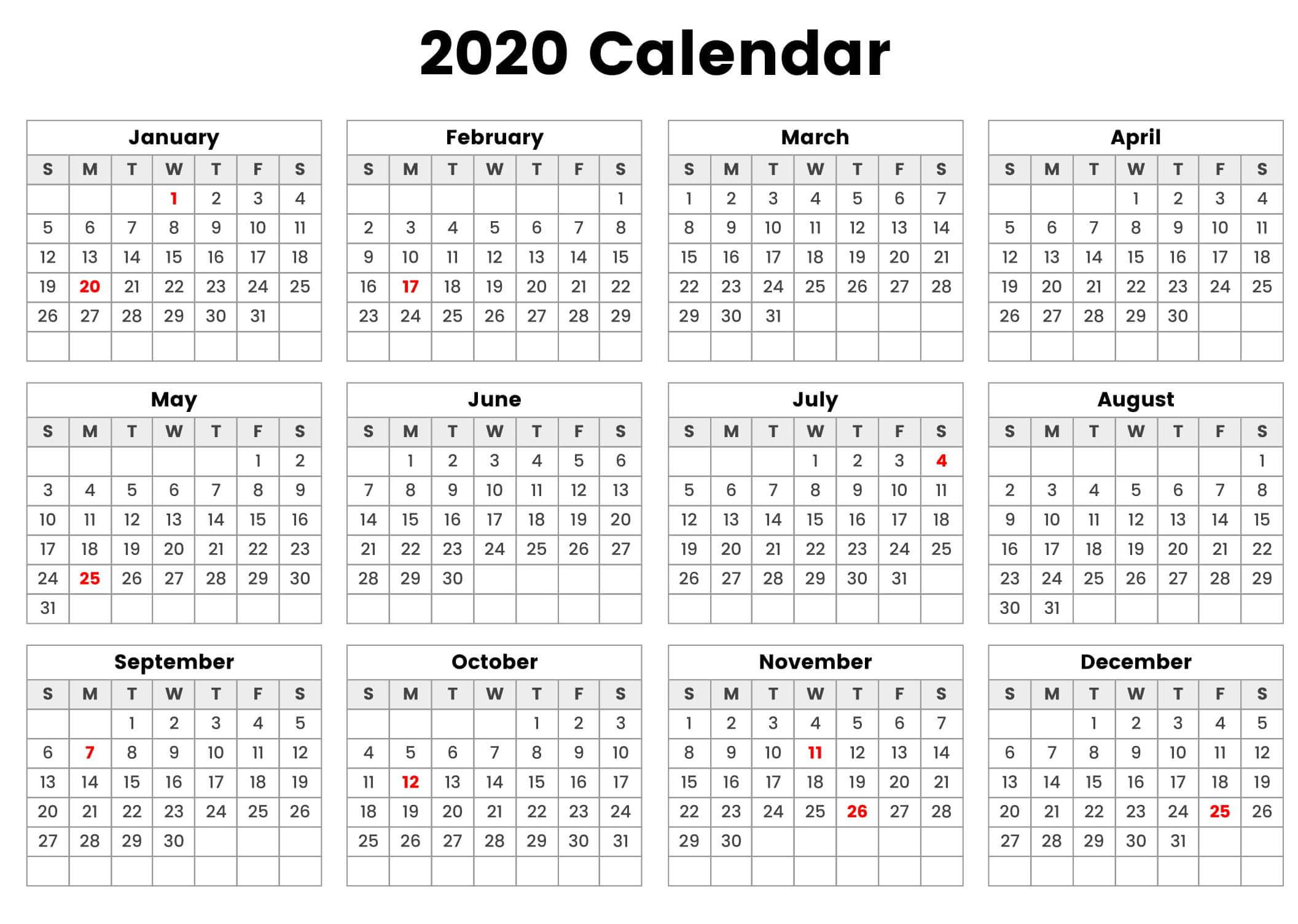 2020 Yearly Calendar World
