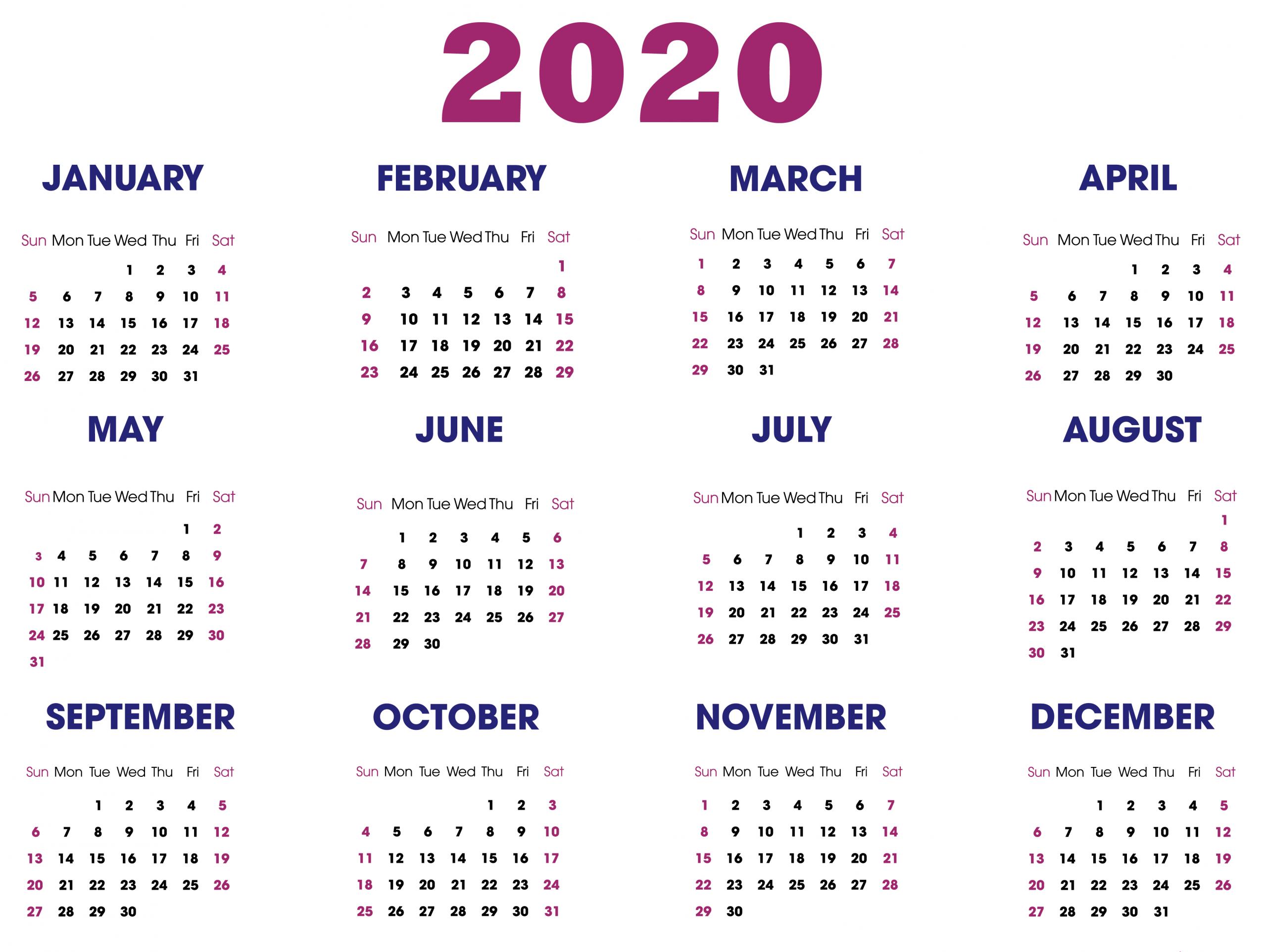 A4 Yearly Calendar 2020