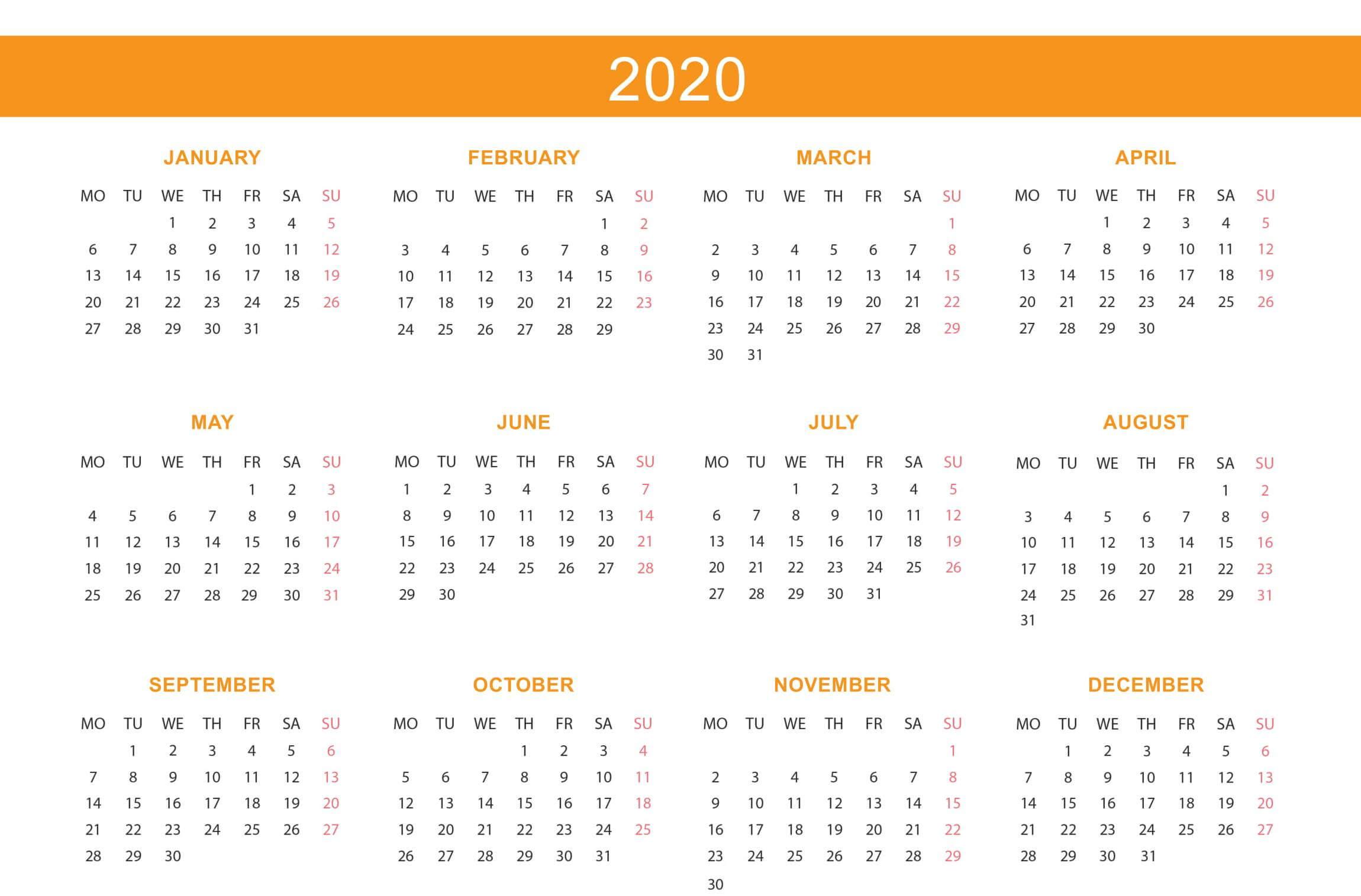 At A Glance Calendar 2020 Free