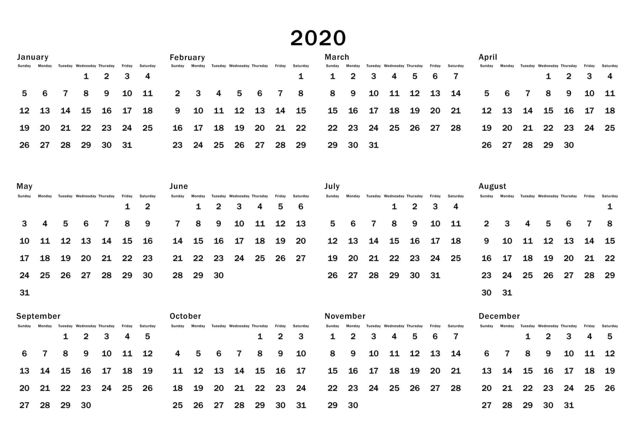 At A Glance Calendar 2020