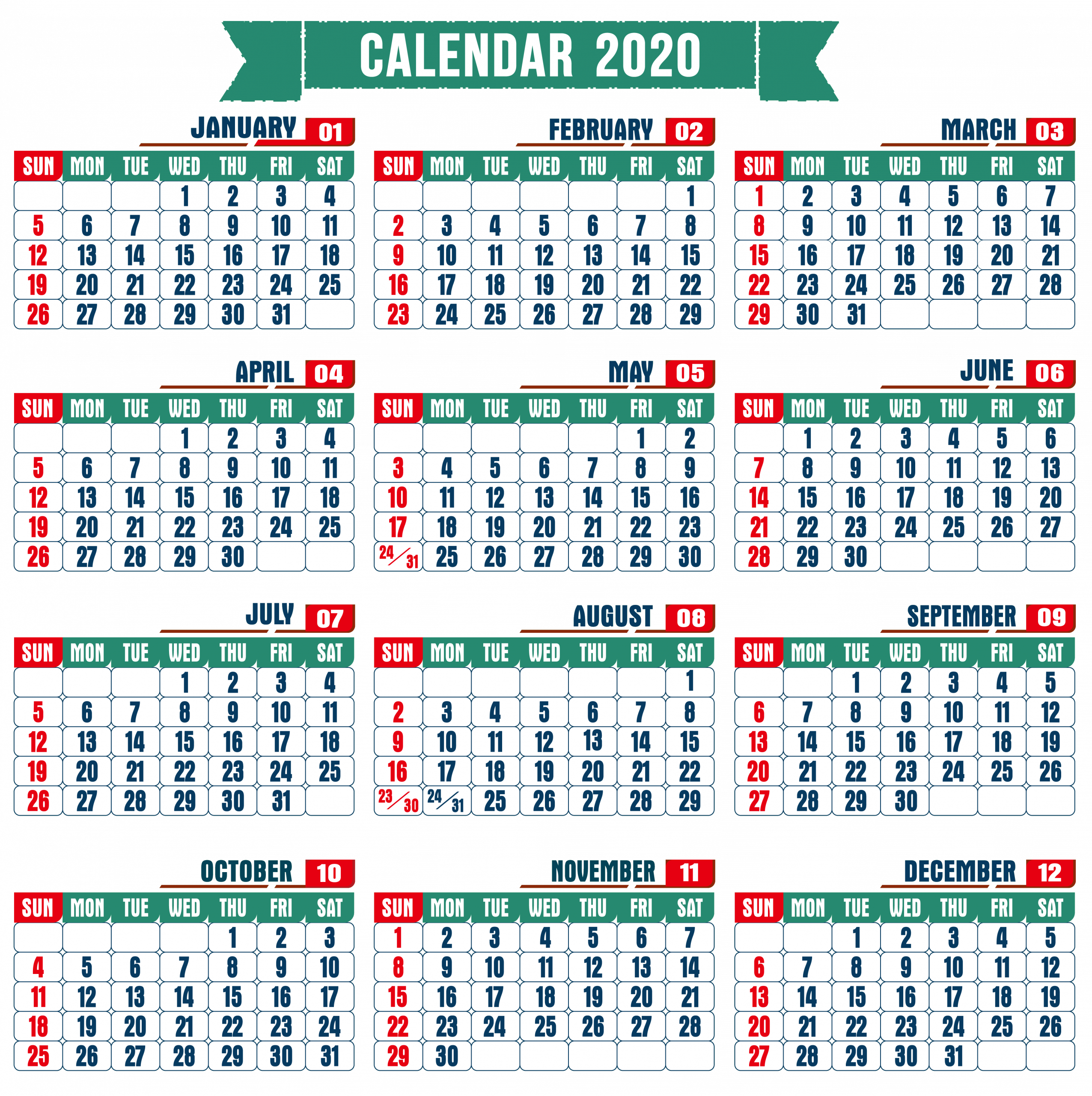 At A Glance Yearly Calendar 2020