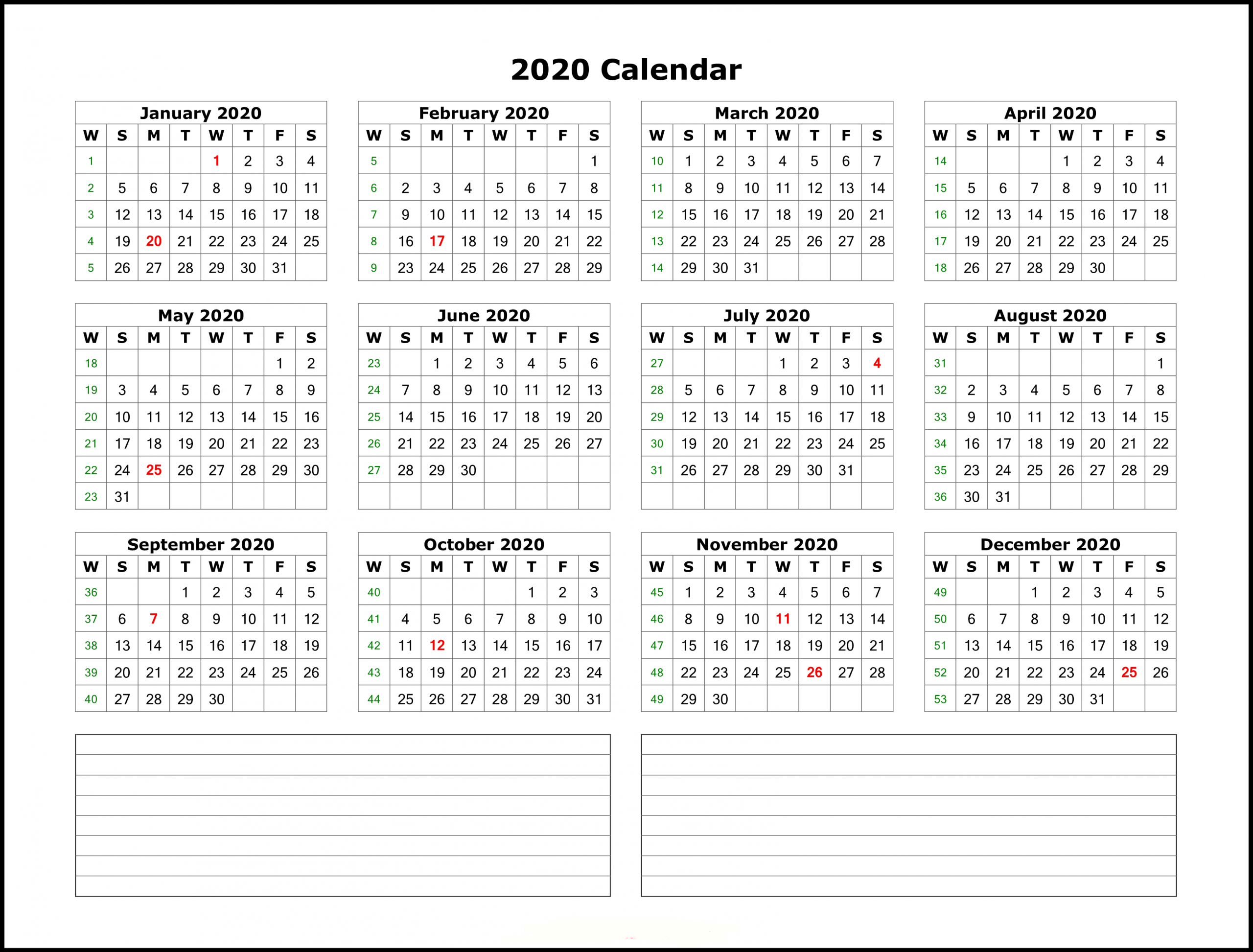 Calendar Template With Notes 2020