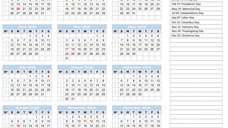 Calendar Year 2020 Holidays