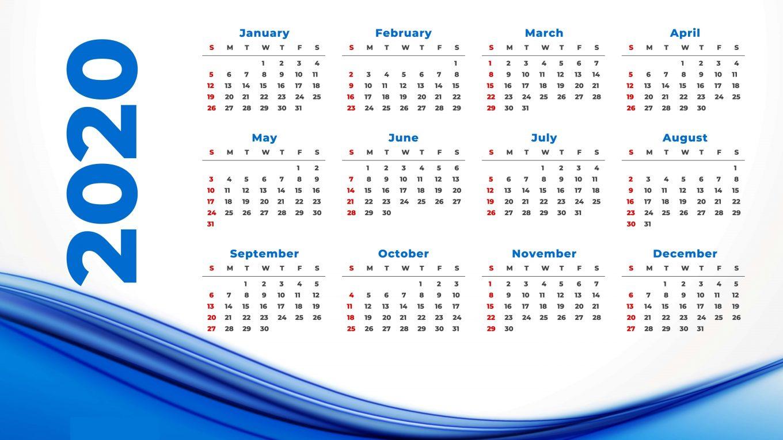 Cute Printable Yearly Calendar 2020