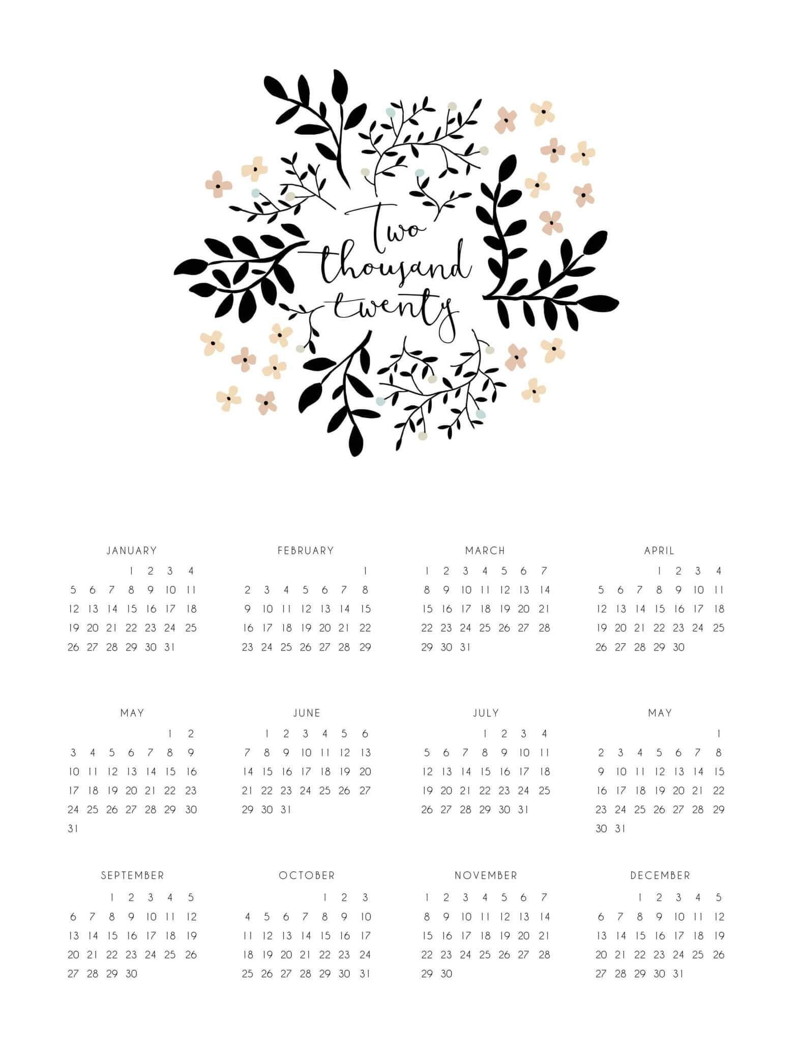 Editable Yearly Calendar 2020 South Africa