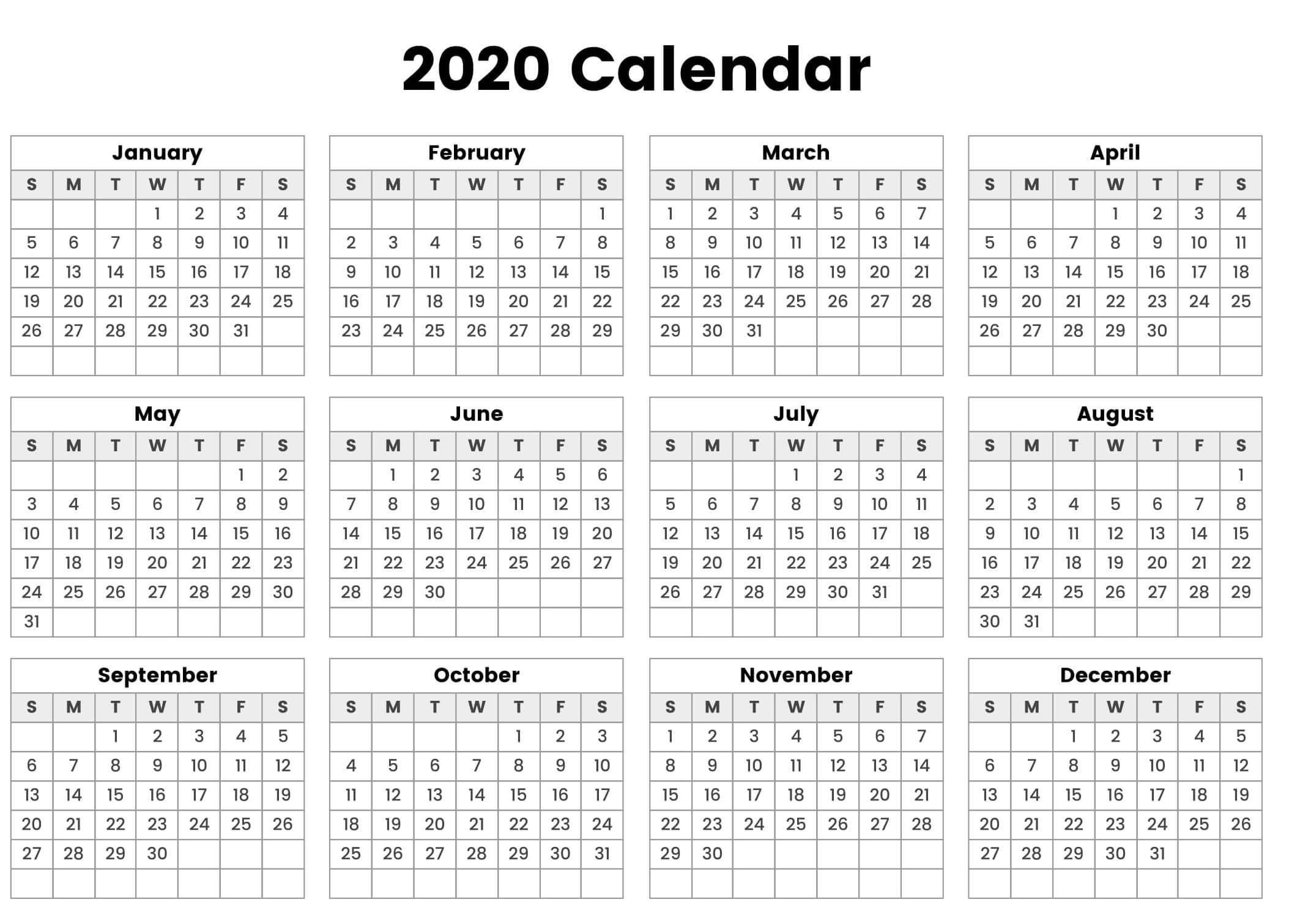 Fiscal 2020 Calendar Template