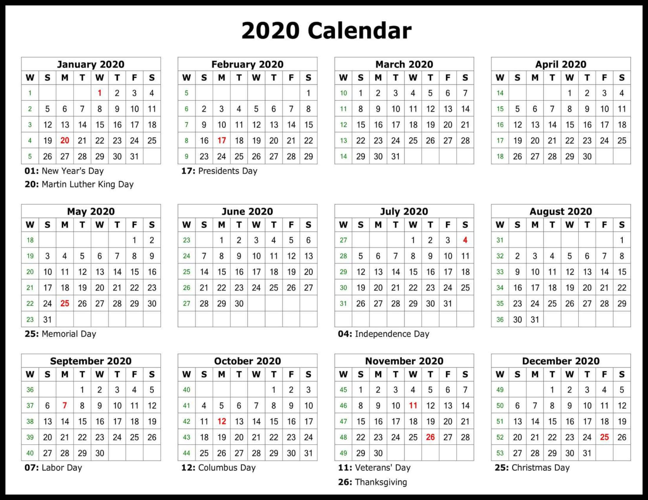 Fiscal Year Calendar 2020 US