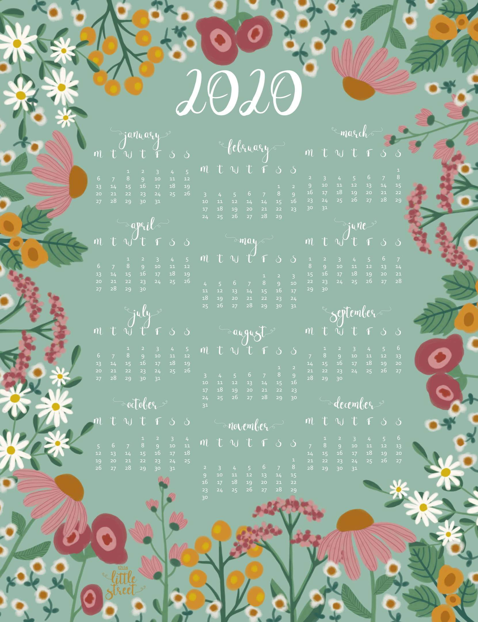 Free Printable 2020 Calendar Vertical