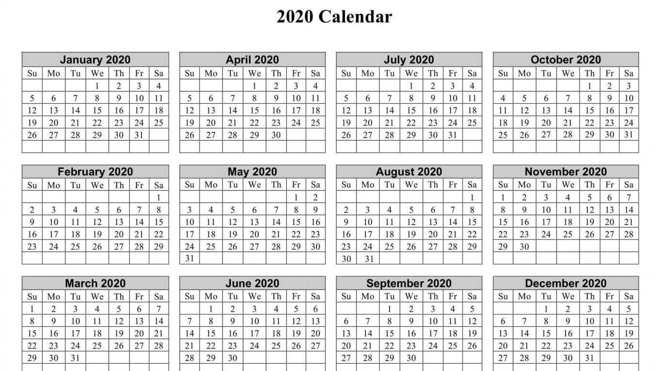 Free Yearly Calendar 2020 Excel