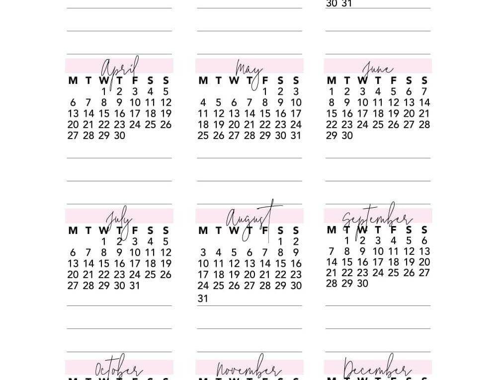 Full Page Calendar 2020