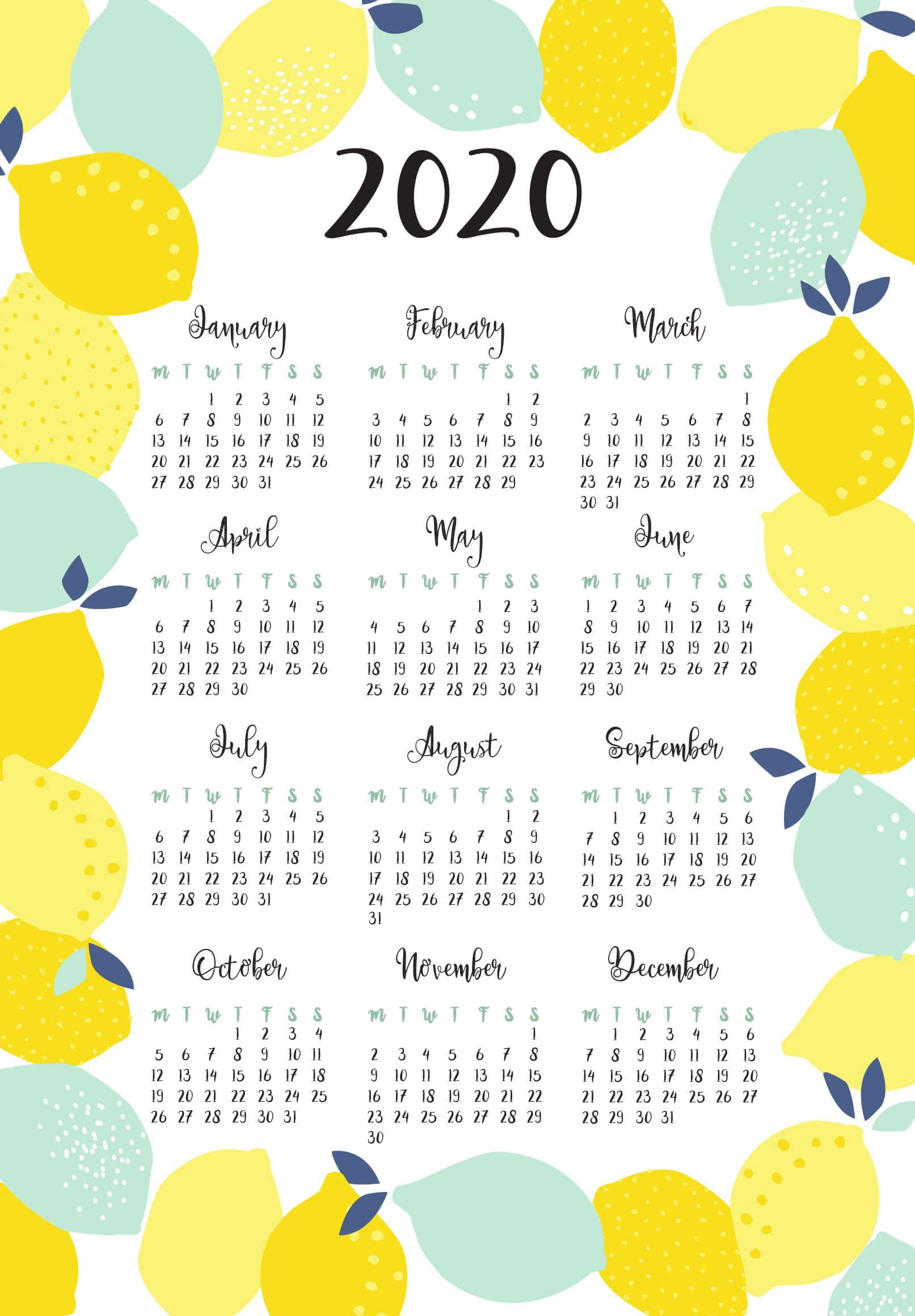 Full Page Yearly Calendar 2020