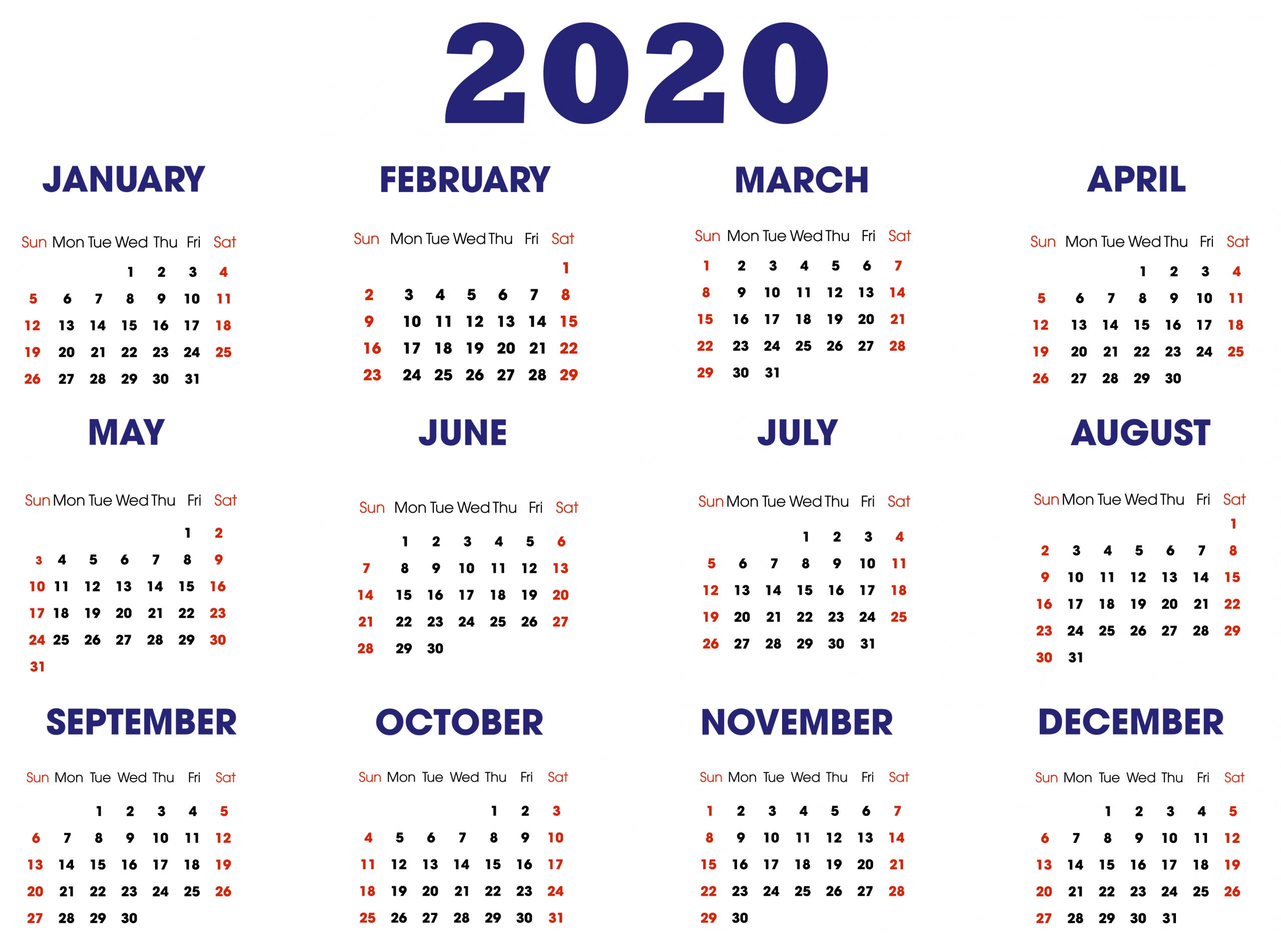 Horizontal Calendar 2020