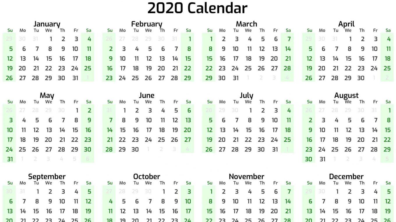 New Year Calendar 2020 Online