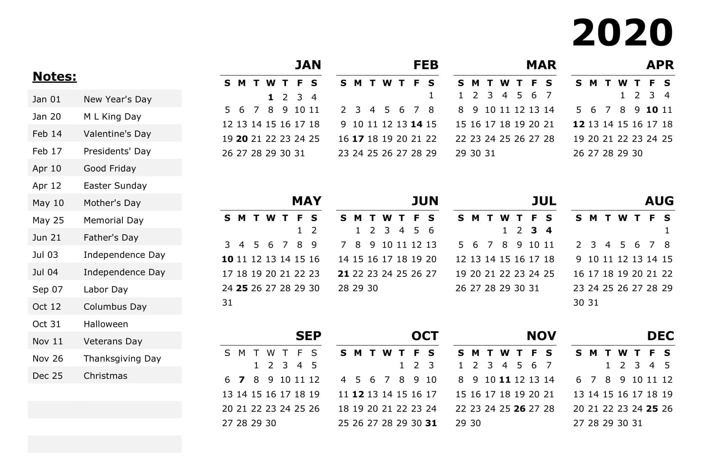 New Year Calendar 2020 With Holidays