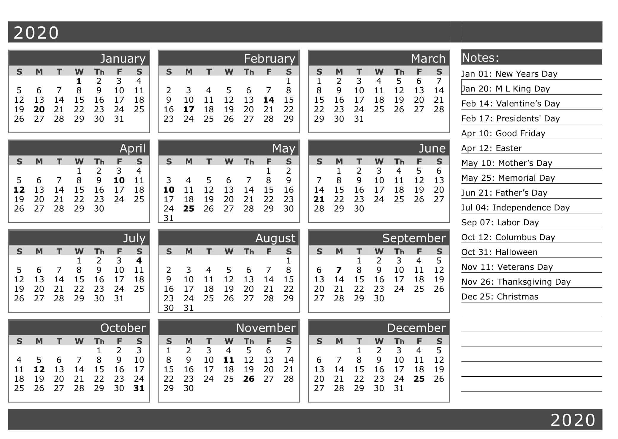 New Year Calendar With Holidays 2020