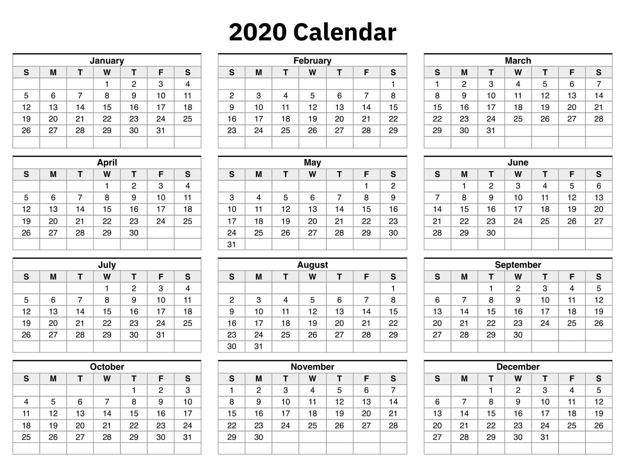 One Year Calendar 2020 Excel