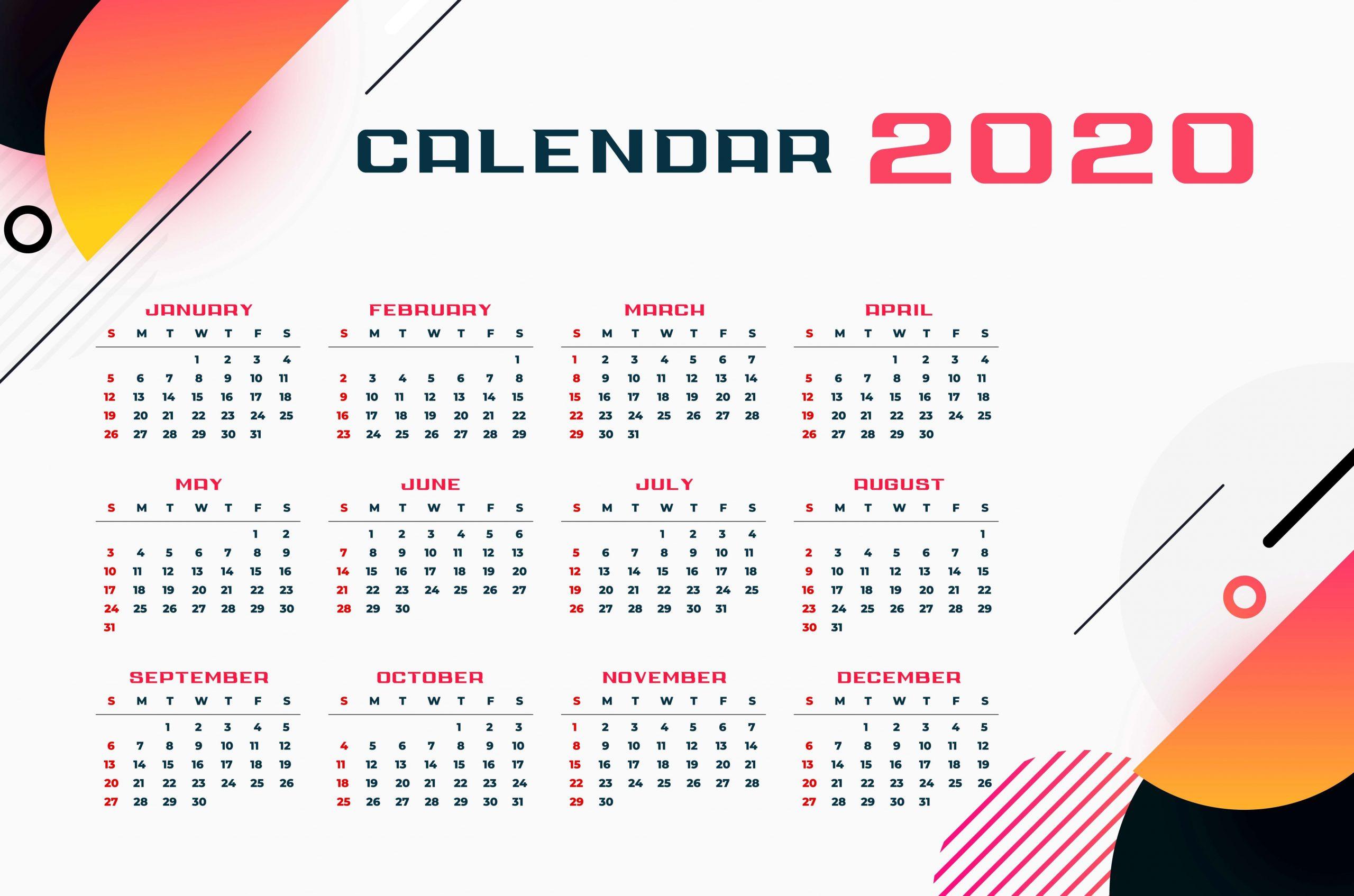 One Year Calendar 2020 PDF