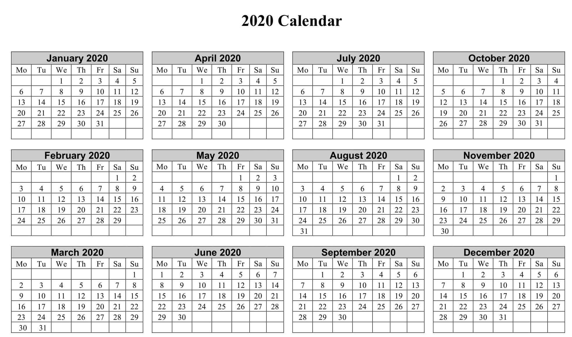 One Year Calendar 2020 Template