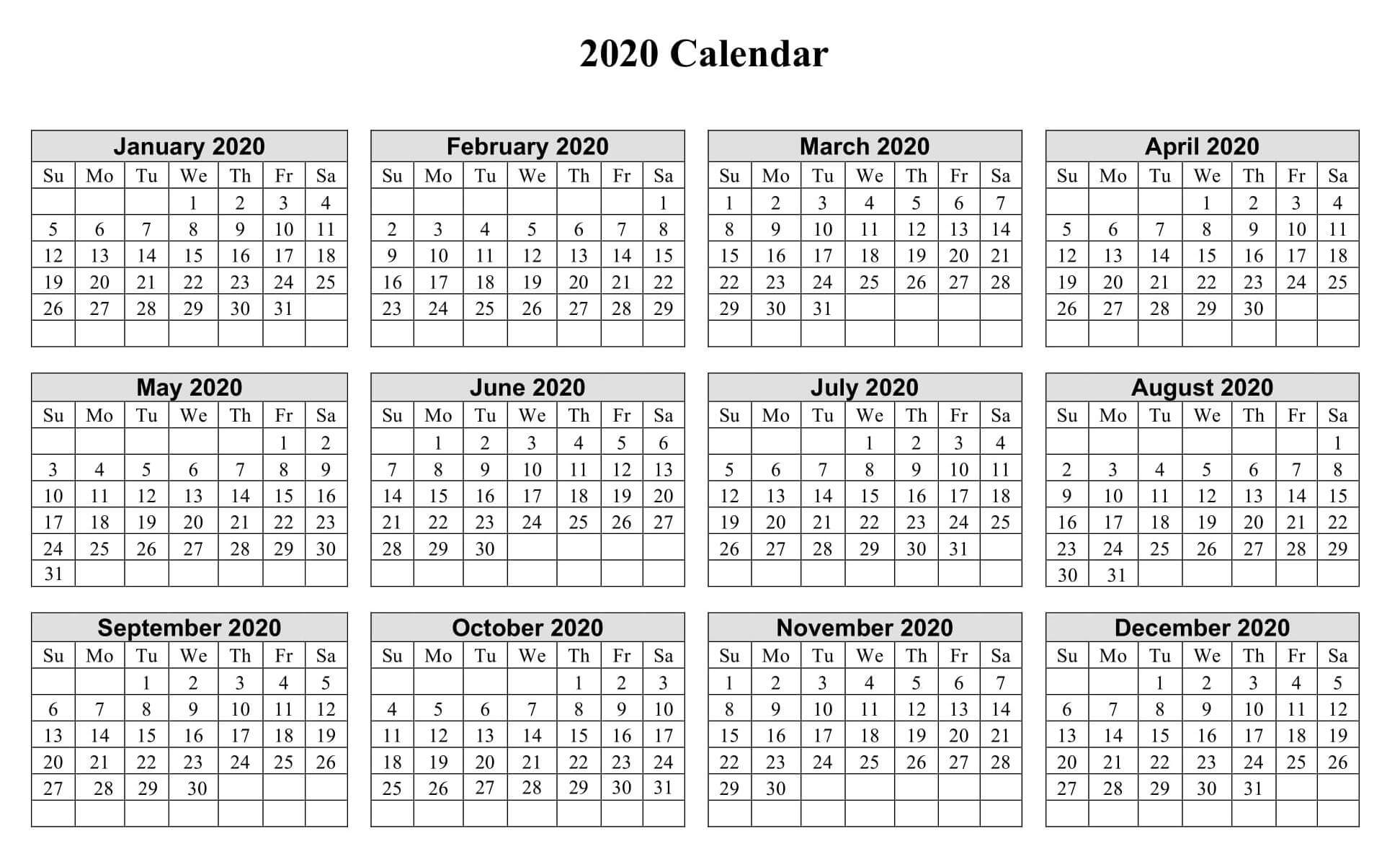 Print Yearly Calendar 2020