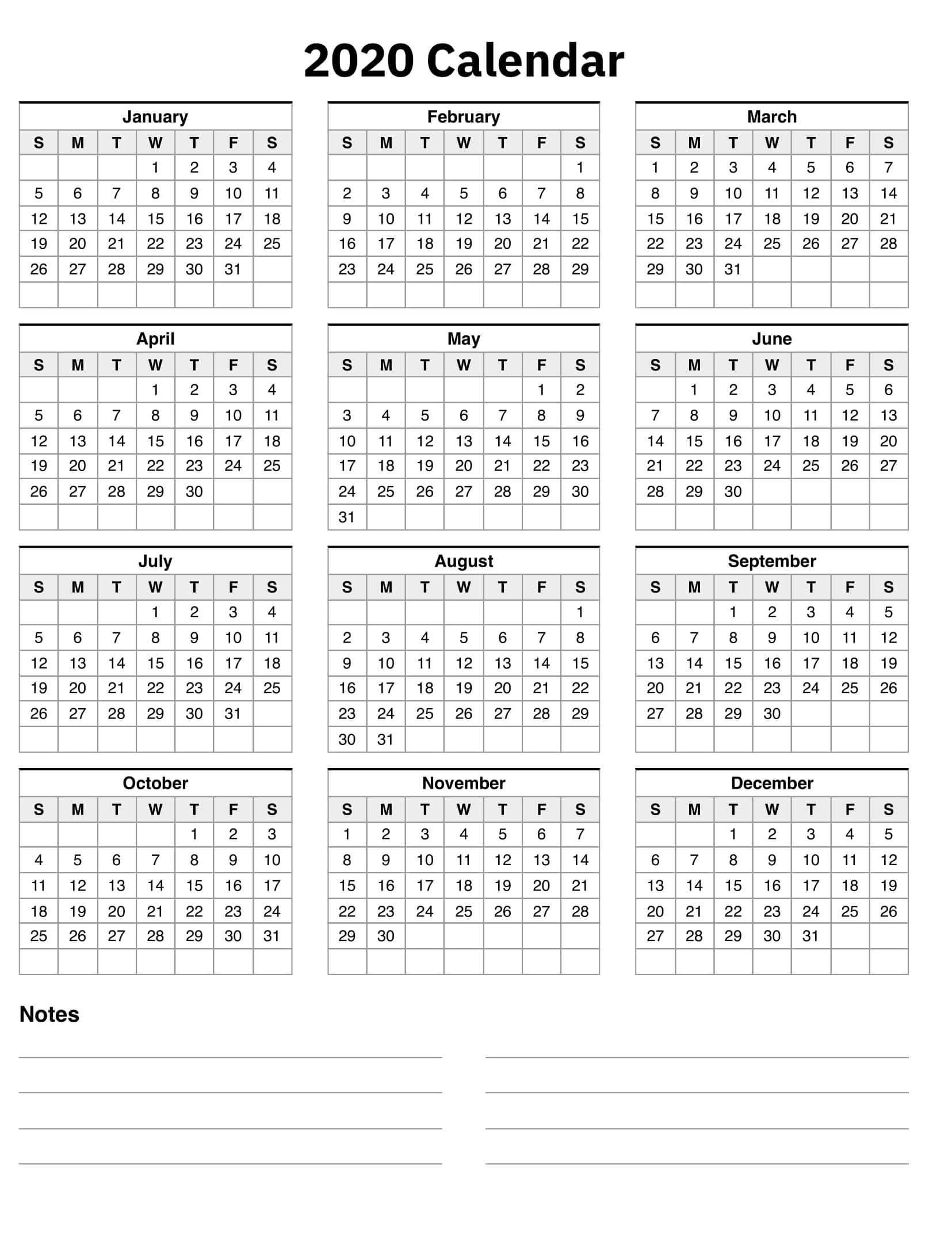 Printable Calendar 2020 With Notes