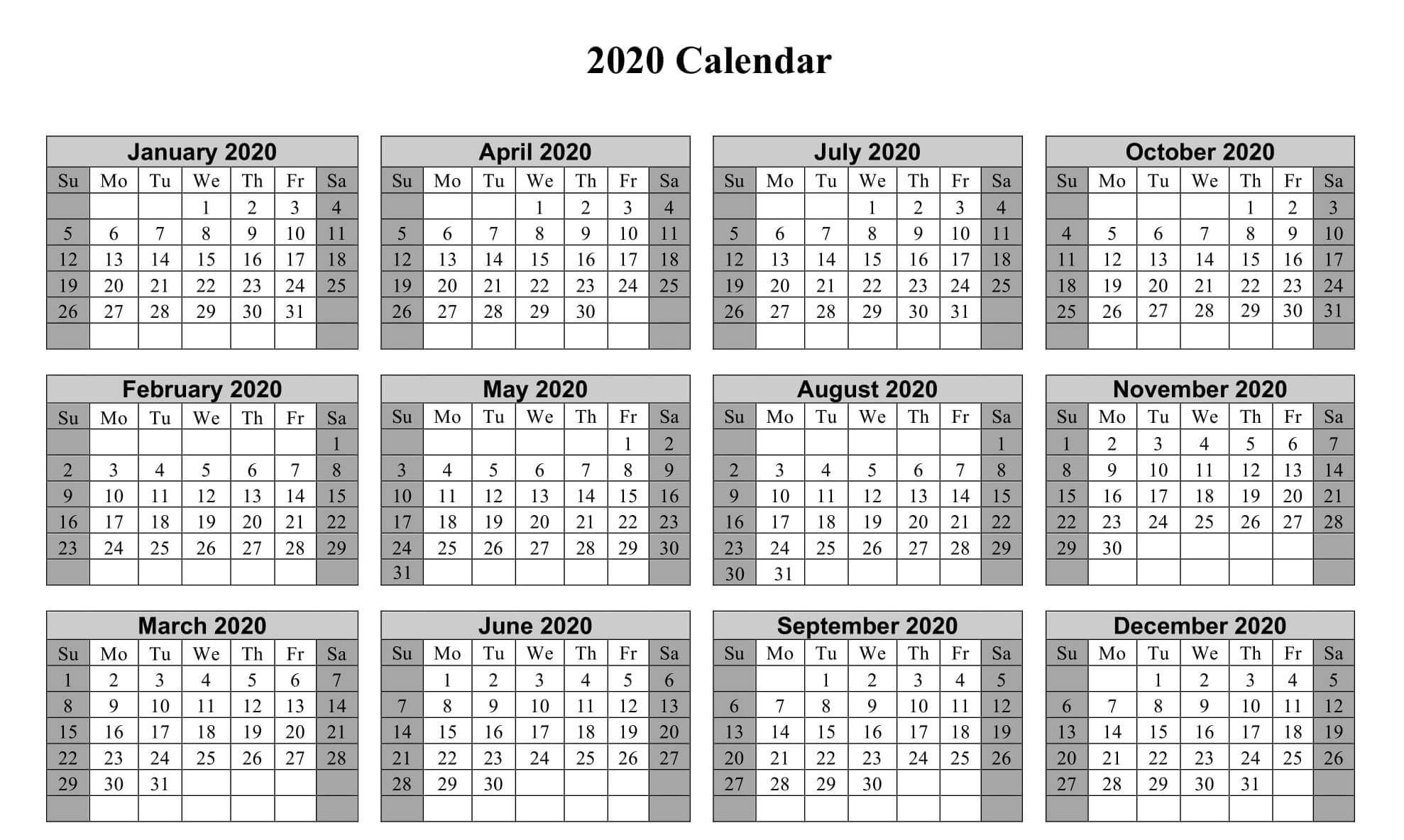 Printable Yearly Calendar 2020 Excel