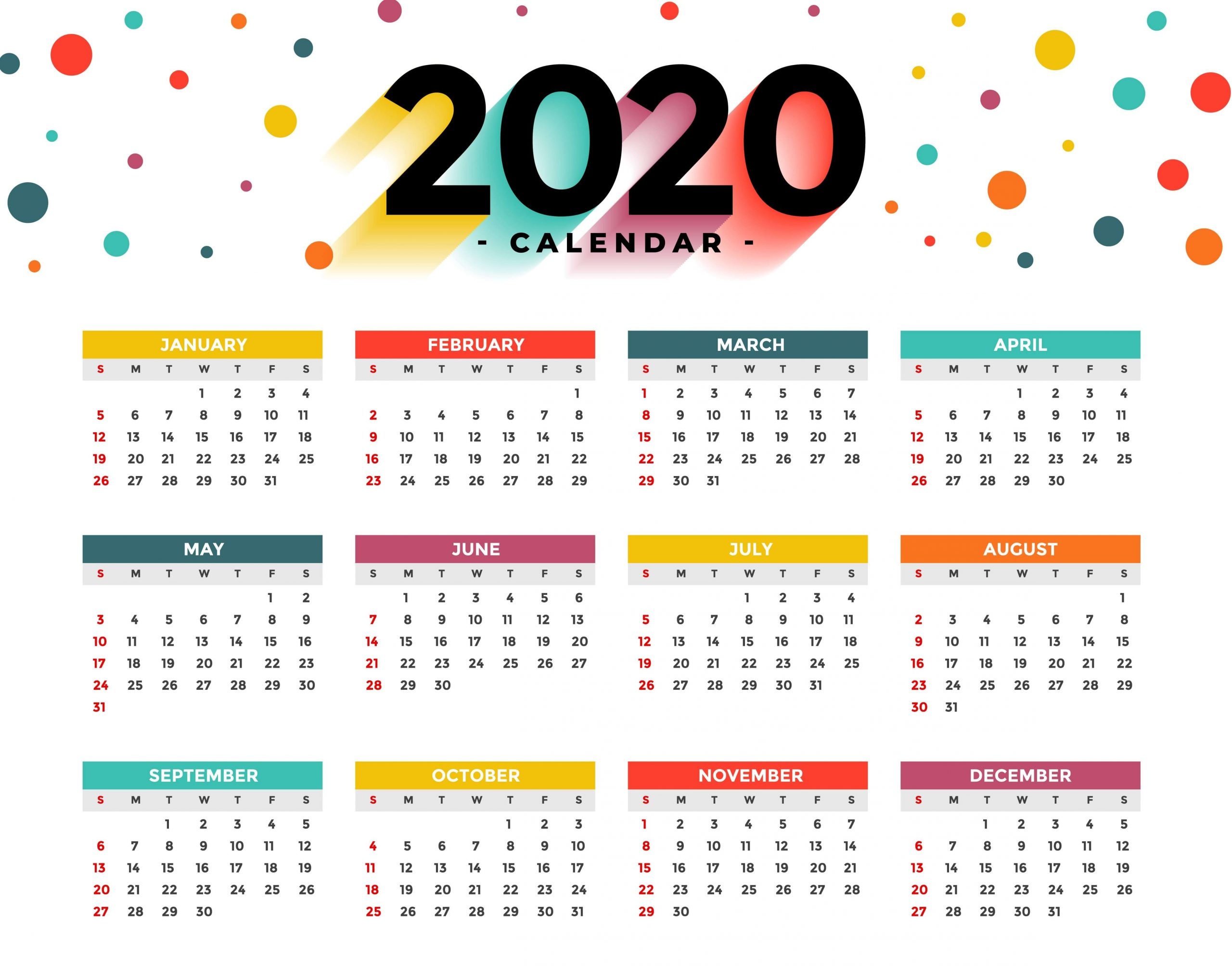 Printable Yearly Calendar 2020 Nz