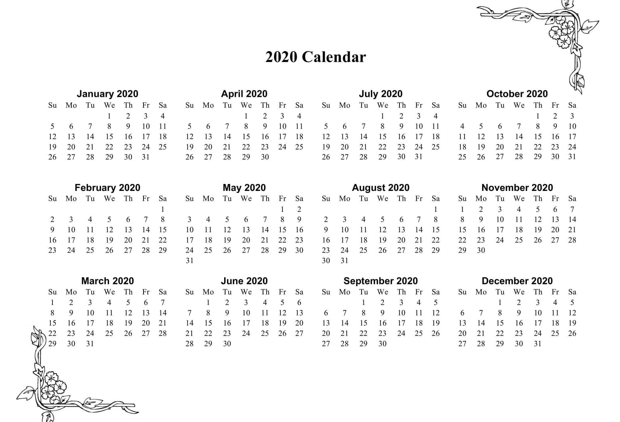 Small Yearly Calendar 2020 2)