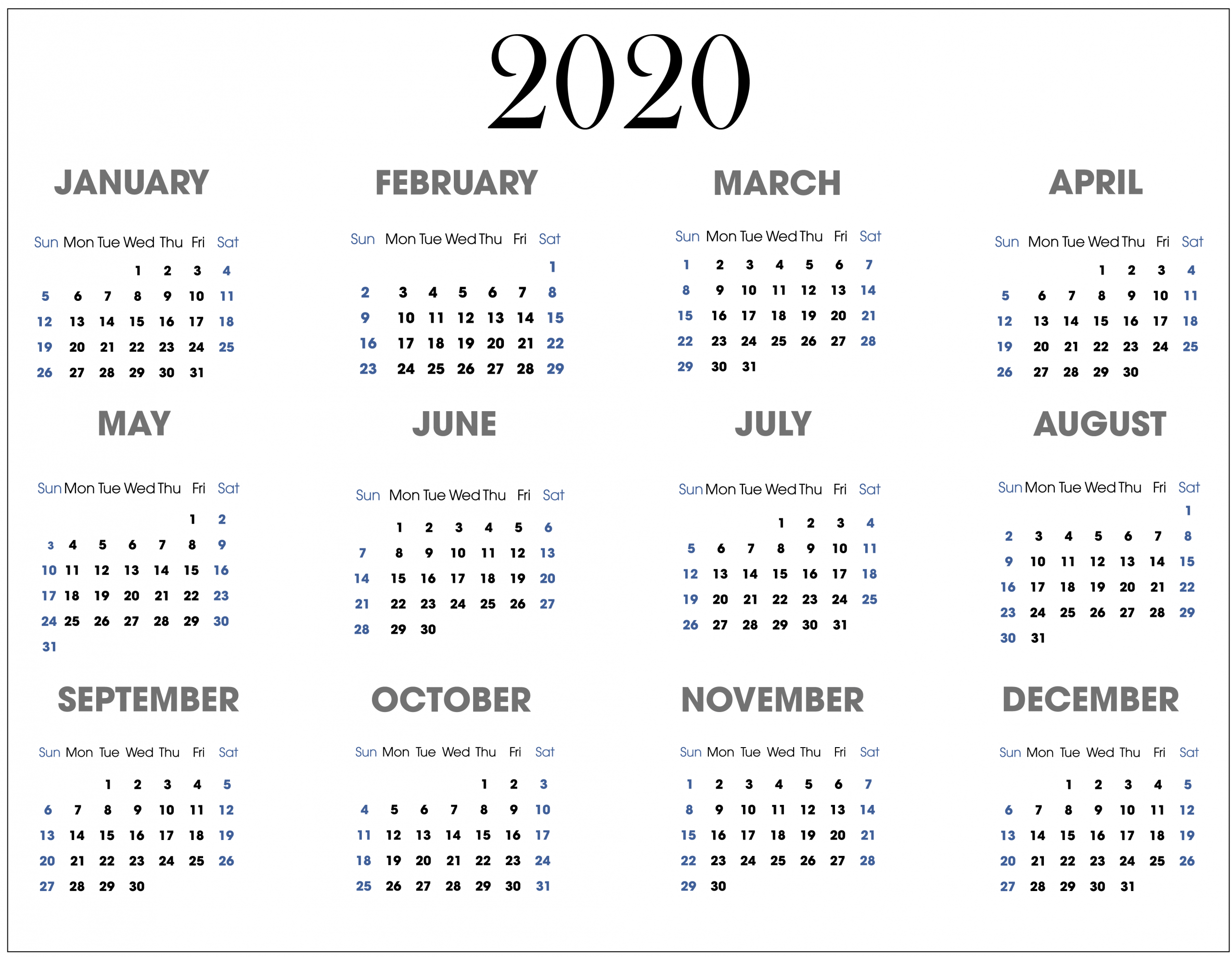 Year At A Glance Calendar 2020 Printable Free