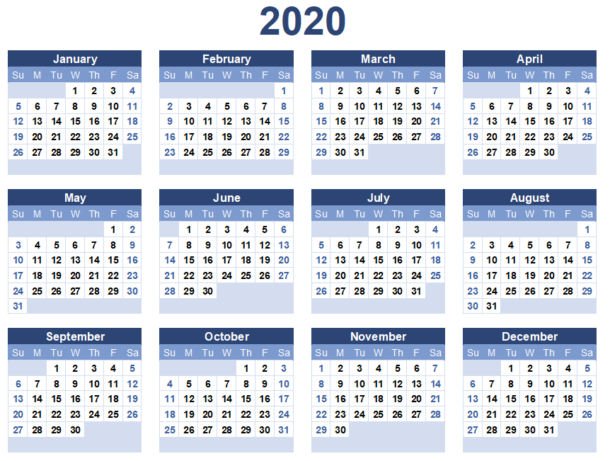 Year Calendar 2020 Printable One Page