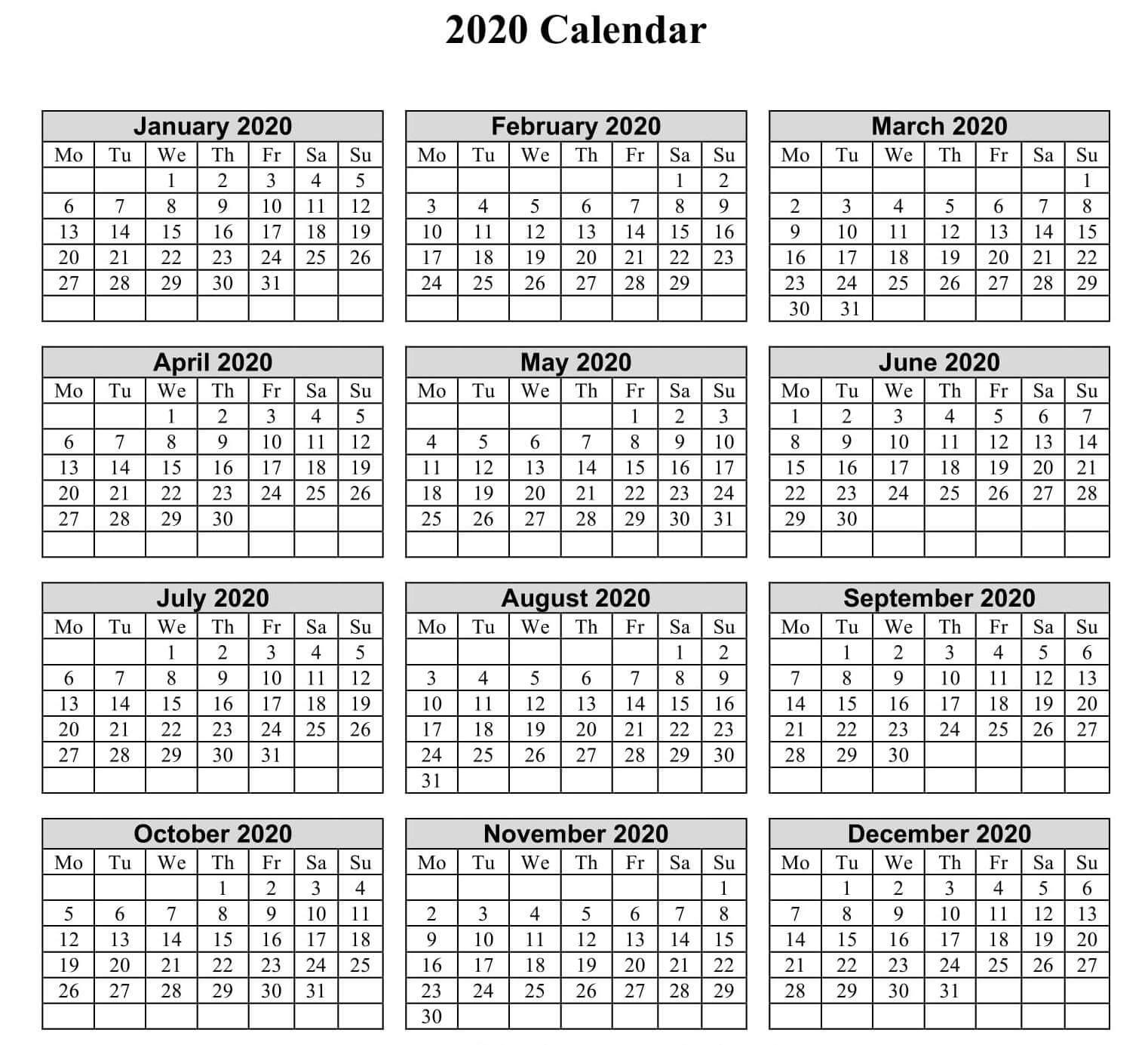 Year Calendar 2020 Printable PDF